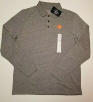 St Johns Bay Men's Medium Gray Heather Long Sleeve Legacy Polo Shirt M L XL XXL