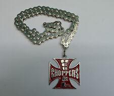 Anhänger, Halskette malteserkreuz Rot Choppers kette ,biker,custom