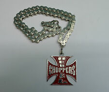 Pendentif, Collier croix de malte Rouge Choppers  chaîne ,bikers,custom,