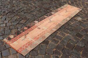 Vintage runner rug, Handmade %100 wool rug, Turkish patchwork   1,6 x 6,2 ft