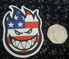 USA Flag Smiling Fire Flame - Car Laptop Van Skateboard Sticker Badge