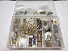 Vtg 60s Jewelry Findings Gold Filled Silvertone Crystals Faux Pearls Etc 100s Pc