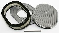 """12"""" Oval Shaped Air Cleaner & Filter Retro Finned Aluminum Fits Holley Edelbrock"""