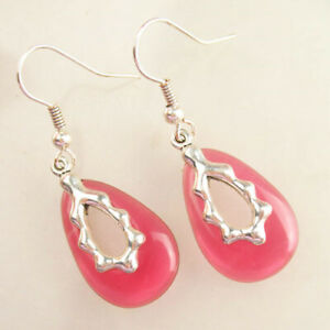 1 Pair Wrapped Red Titanium Crystal Olivary Pendant Bead Earrings H77744
