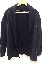RINGSPUN Black Rib Knit Shawl Collar Cardigan.  M.  <N1792