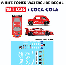 WT036 White Toner Waterslide Decal> COCACOLA >For Custom 1:64 Hot Wheels