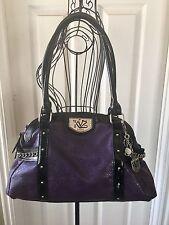 Nice Kathy Van Zeeland Purple Purse Shoulder Bag Faux Snake Bling Used Twice!