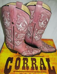 """Corral Pink White Leather 12"""" Tall Western Cowboy Boots Womens Size 7 M With Box"""