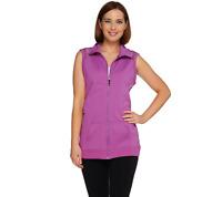 cee bee CHERYL BURKE Zip Front Vest with Mesh Details BLACK Color Size XS