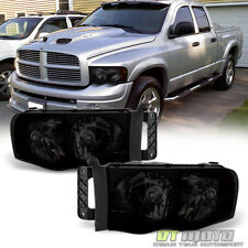 Black Smoke 2002-2005 Dodge Ram 1500 2500 3500 Headlights Headlamps Left+Right