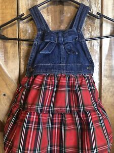 Oshkosh Baby Girls Denim Overall Dress W/ Red Plaid Skirt Sz 18 Months