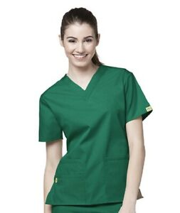WonderWink Nurses Origins Bravo Scrub Women's V-Neck Top 6016 Wonder Wink ~NEW~