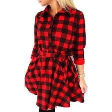 Plus size Sexy Womens Botton Shirt Dress Long Sleeve Plaid Blouse Tops Dress US