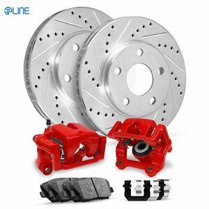 Front Eline Brake Red Calipers+Drill Slot Brake Rotors+Ceramic Brake Pads+HD