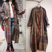 HOT Cotton Art Linen Folk Women Maxi Long Button Floral Loose Retro Dress Coat@@