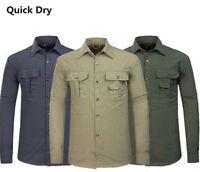 Mens Casual Quick Dry Jacket Fishing Shirt Anti-UV Sun Protection Hiking Coats