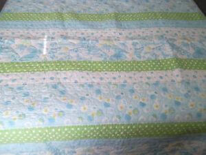 Pottery Barn Kids Allison Twin Quilt Bedspread Butterfly Daisy Polka Dot Blue