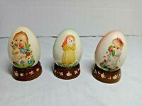 Anri Ferrandiz Italy Hand Carved Wood Egg 3 Eggs vtg 1980s