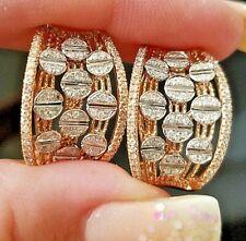 Vintage Art Deco Diamond Rose/white  14k white gold earrings