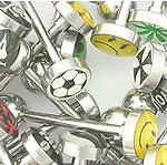"14g 5/8"" Mixed Logo Tongue Ring Jewelry Pictures & Words - Price Per 10"