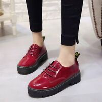Womens Ladies Platform Wedge Sneakers Lace Up Creepers Oxfords Chunky Shoes