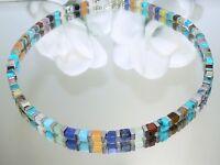 Würfelkette Kette Halskette Würfel Schmuck Edelstein Mix mehrfarbig silber 214q