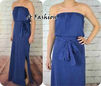 NEXT TAGGED £34  BLUE WASHED OUT SIDE SPLIT MAXI DRESS 100% COTTON NEW 706