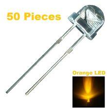 50 X Orange LED 5mm Straw Hat Ultra Bright Wide Angle Light Long Lasting Lamp