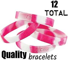(12) Pink Ribbon Camouflage Camo Breast Cancer AWARENESS Bracelets (1 dozen)