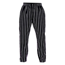 Long Striped Chef Trousers 100% Cotton Catering Pants Kitchen  Chef Trousers