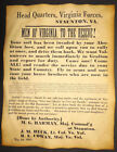 Civil War Recruiting Poster, Men of Virginia to the Rescue, confederate, wanted