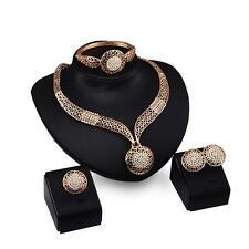 Gold Plated Crystal Rhinestone Necklace Bracelet Earrings Set Wedding Jewelry