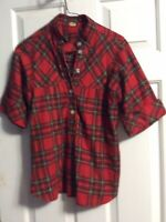 Womens Tartan Plaid  Shirt in  Red Black Blue Yellow Size  Medium