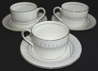 Coalport England Avon 3 Flat Cups & Saucers Bone China Platinum Trim