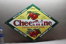 CHEERWINE CHERRY SODA POP PORCELAIN SIGN GAS OIL CAR FARM TEXAS MINT SALISBURY