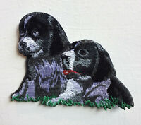Dog Pair Cute Animal Art Badge Iron or sew on Embroidered Patch