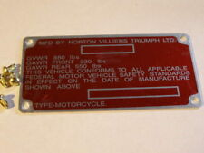 Norton Commando 1975 frame decal tag & rivets  NVT type, Free ship to USA stk129