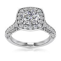 Halo Pave 1.75 Carat SI1/H Round Cut Diamond Engagement Ring White Gold