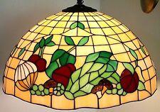 VINTAGE TIFFANY STYLE ARTS & CRAFTS SLAG GLASS HANGING LAMP W/ VEGETABLE DESIGNS