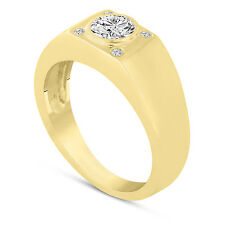 Natural Diamond Solitaire Mens Ring 14K Yellow Gold 0.55 Carat Handmade
