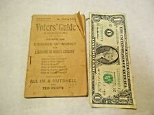 1896 Voters' Guide by Henry Allen Bell Political Information Booklet good shape