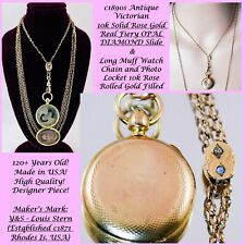 Antique 10k SOLID ROSE Gold DIAMOND OPAL SLIDE & Watch Chain LOCKET GF Necklace