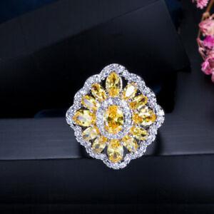 CWWZircons Vintage CZ Big Yellow Crystal Engagement Wedding Ring for Women