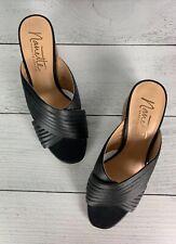 Nanette Lepore Anthropologie Women's 7 M Black Leather Block Heel Sandals Shoes