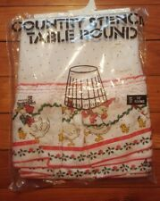 "NWT Vintage Christmas Goose Duck Xmas Country Stencil Tablecloth 70"" Round"