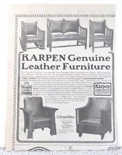 Antique 1900 Mission Karpen Leather Furniture 1904 Print Ad Chair Art Poster