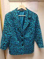 Linea by Louis Dell'Olio Women's Blue Black Animal Print Blazer Jacket Sz LARGE