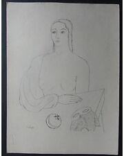 Laszlo MEDGYES: Halbakt avec masque-orig. Lithographie de 1922-érotique