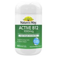 Nature's Way Active B12 1000mcg 60 Chewable Tablets Vegan Friendly Natures Way