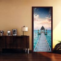 3D Sea Wood Bridge Landscape Door Wall Sticker Photo PVC Waterproof Wall Mural